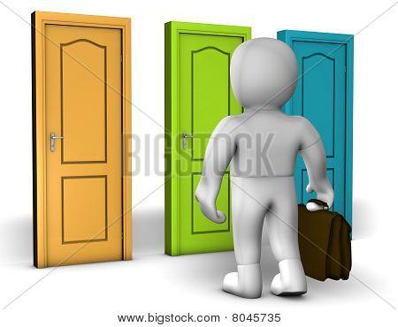 A Man Front Of Three Doors