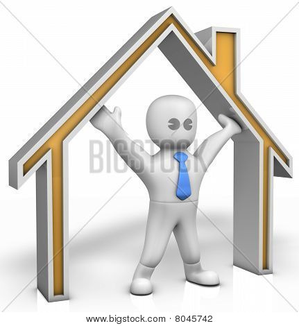 A Man With A House Contour