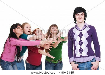 Women Stretching Hands For Man
