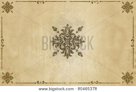 Old Grunge Paper Background With Vintage Patterns.