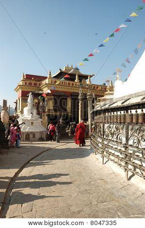 People are visiting sacred Swayambhunath Stupa  in Kathmandu,Nepal