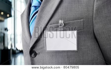 White Blank Badge on mens torso