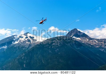 Helicopter Flying Out From Alaska