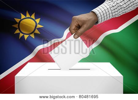 Ballot Box With National Flag On Background - Namibia