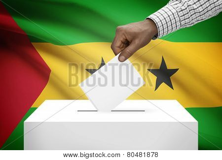 Ballot Box With National Flag On Background - Sao Tome And Principe