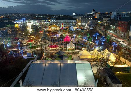 Panoramic view of Galway Continental Christmas Market at night. Ireland.