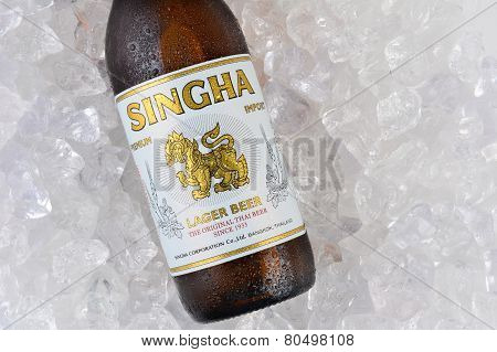 Singha Beer On Ice Closeup