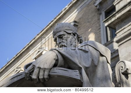 Writer sculpture, National Library of Madrid, Spain. architecture and art