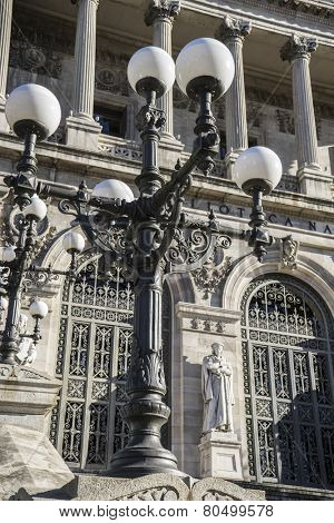 Street lamp, National Library of Madrid, Spain. architecture and art