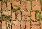 background texture brick paving mosaic concrete pavement of the road poster