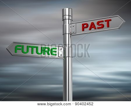 Road Sign Past And Future