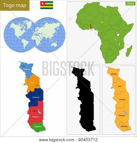 Administrative division of the Togolese Republic, colorful map poster