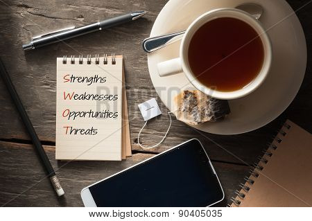 S.W.O.T. analysis is written on small notepad with a cup of tea pen pencil and cellphne on rustic wood background with low key scene poster