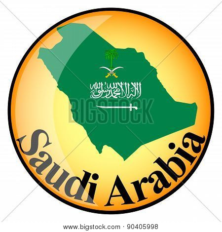 Orange Button With The Image Maps Of Saudi Arabia