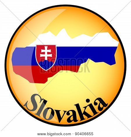 Orange Button With The Image Maps Of Slovakia
