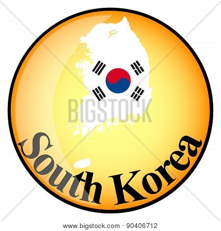 Orange Button With The Image Maps Of South Korea