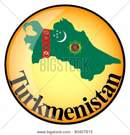Orange Button With The Image Maps Of Turkmenistan
