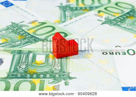 Concept House Sell Foreclosure Money Banknote Red