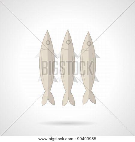 Three sardines flat vector icon