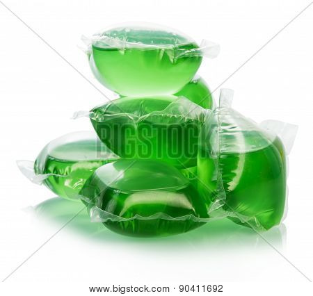 Green water bags for ice