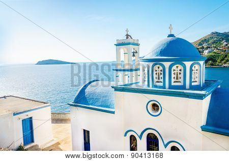 Greek blue dome of white church, Greece
