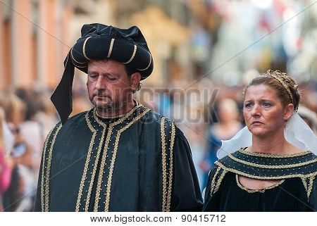 Husband And Wife In The Historic Medieval Parade
