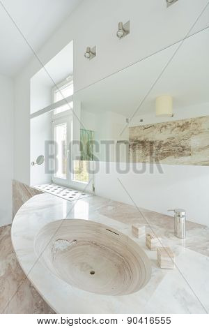 Granitic Sink In Expensive Bathroom
