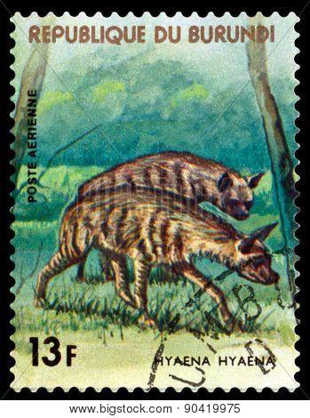 Vintage  Postage Stamp. Hyena. Animals Burundi.