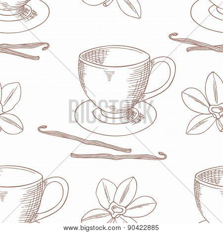 Sketched Coffee Cup With Vanilla Flower Outline Seamless Pattern