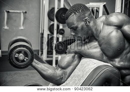 Hunky muscular black bodybuilder working out in gym, exercising with weights poster