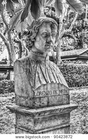 Bust statue of Lorenzo de' Medici (1 January 1449 – 9 April 1492) famous Italian statesman and de facto ruler of the Florentine Republic during the Italian Renaissance. Sculpture in Villa Borghese park poster