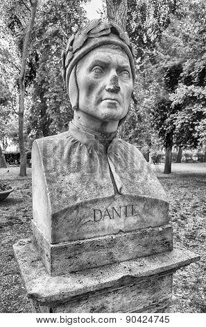 Bust Statue Of Dante Alighieri. Sculpture In Villa Borghese Park, Rome
