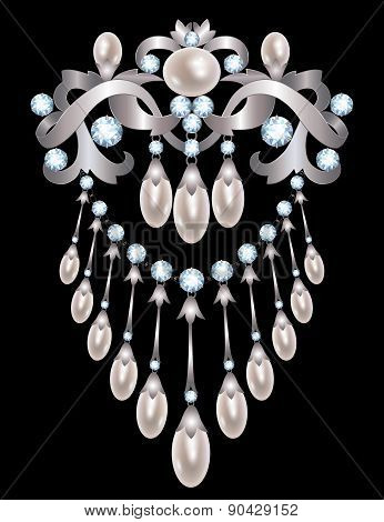 Silver brooch decorated with pearls and diamonds poster