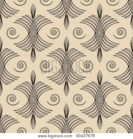 Seamless Antique Pattern Ornament Geometric Art Deco Stylish Background. Vector Repeating