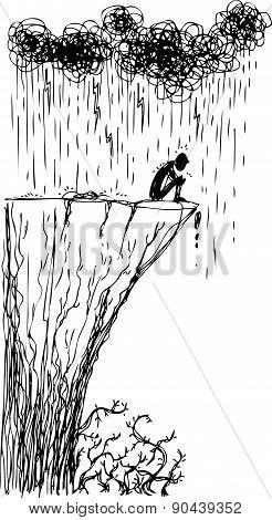 Man near a ravine