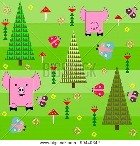 Seamless green background with a pattern of funny cartoon happy pink pig