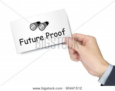 future proof card in hand isolated over white background poster