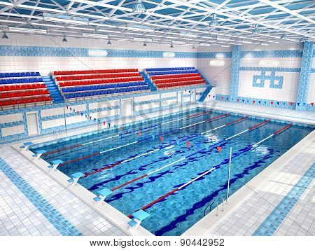 3D Illustration Of Interior Of Public Swimming Pool