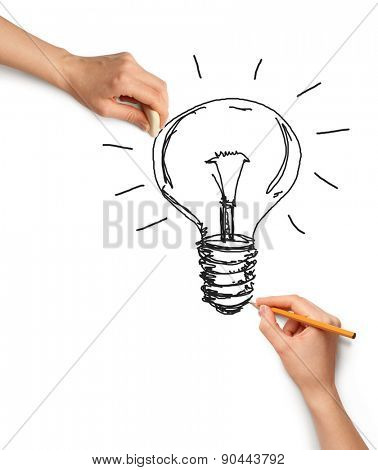 Idea background with lamp, sketch and human hand with pencil
