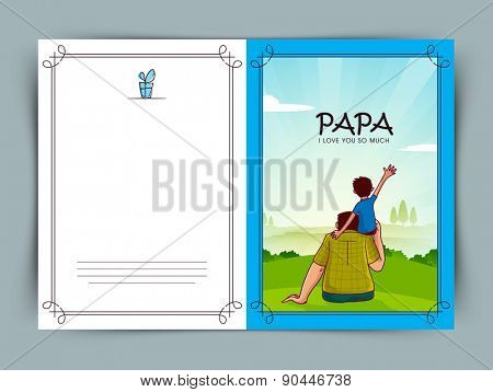 Beautiful greeting card design with Father and Son on nature scene background for Happy Father's Day celebrations.