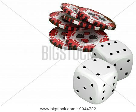 Casino Or Roulette Chips And Dies Over White