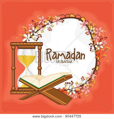 """Open golden pages, Islamic religious book """"Quran Shareef"""" with golden glass sand timer or clock on flower decorated background for Holy month of prayers, Ramadan Kareem celebrations.  poster"""