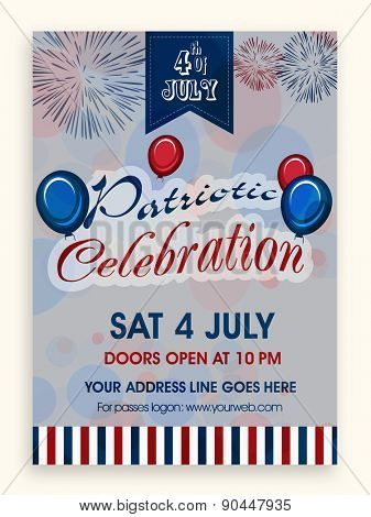 4th of July, American Independence Day flyer or banner design with venue details for party.