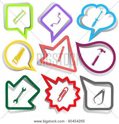 Angularly set. Paper stickers. Raster illustration.