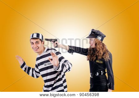 Police and prison inmate on white poster