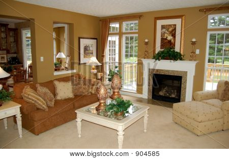 beautifully decorated living room in a luxury home poster