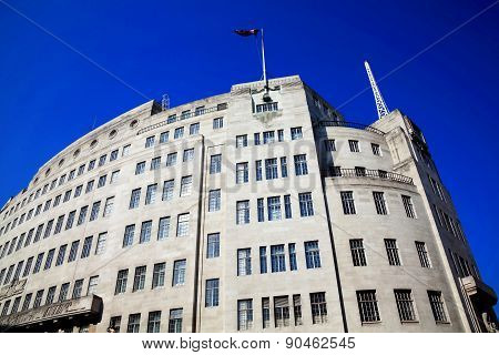 BBC Broadcasting House built in an art deco style in1932, in Regent Street, London, England, UK, was the original headquarters of the British Broadcasting Corporation poster