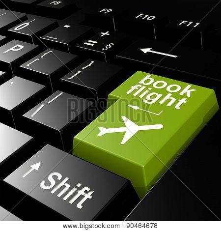 Book Flight On Green Keyboard