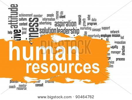 Human Resources Word Cloud With Orange Banner