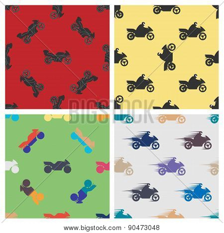 Set Seamless Pattern Of Motorcycles